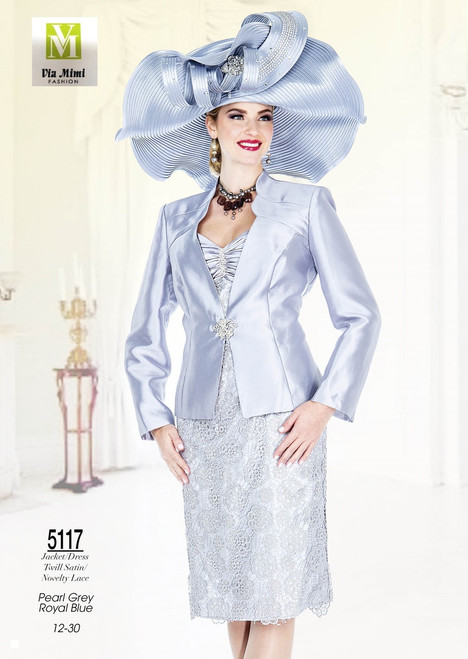 CHAMPAGNE - 5117 - JACKET/DRESS TWILL SATIN/NOVELTY LACE - SIZES: 12-30 -COLORS: PEARL GREY - ROYAL BLUE