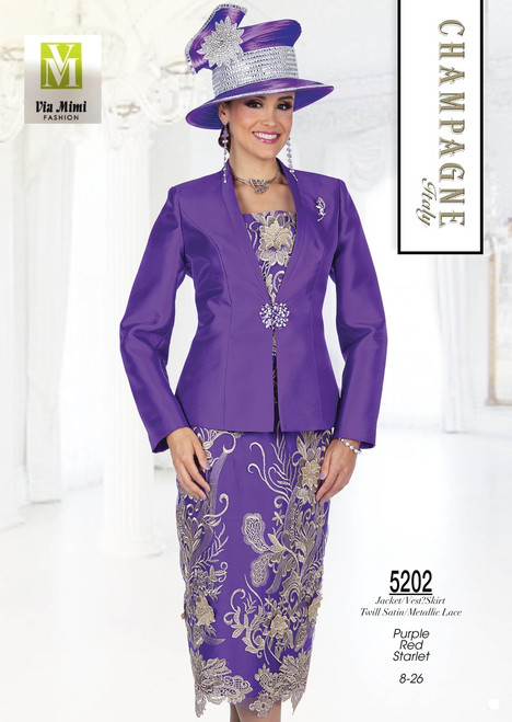 CHAMPAGNE - 5202 - JACKET/VEST SKIRT SATIN/METALLIC LACE - SIZES: 8-26 - COLORS: PURPLE - RED -STARLET