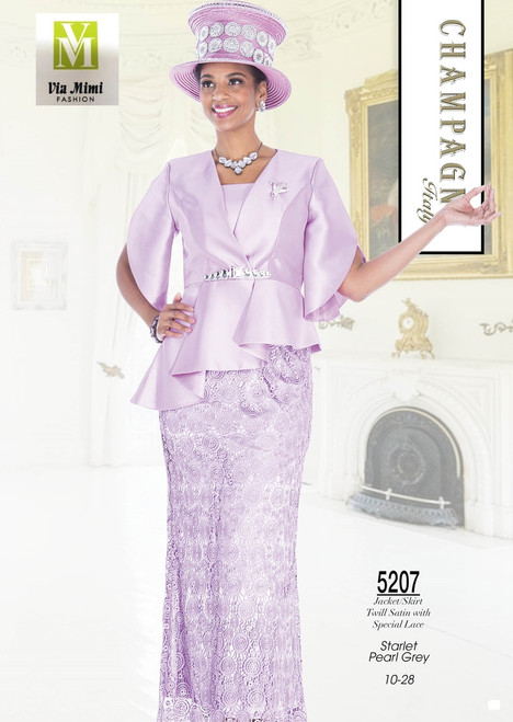 CHAMPAGNE - 5207 - JACKET/SKIRT TWILL SATIN WITH SPECIAL LACE - SIZES: 10-28 - COLORS: STARLET - PEARL GREY