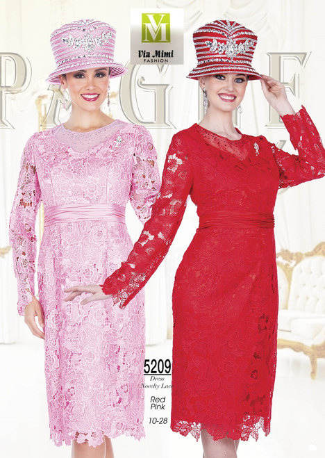 CHAMPAGNE - 5209 - DRESS NOVELTY LACE - SIZES: 10-28 - COLORS: RED - PINK