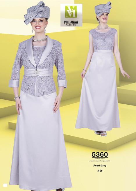 ELITE CHAMPAGNE - 5360 - JACKET/DRESS SEQUIN LACE/CREPE SATIN - SIZES: 8-26 - COLOR: PEARL GREY