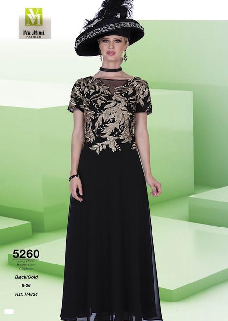 ELITE CHAMPAGNE - 5260 - HAT: H4824 - LONG DRESS METALLIC LACE CHIPHONE - SIZES: 8-26 - COLOR: BLACK/GOLD