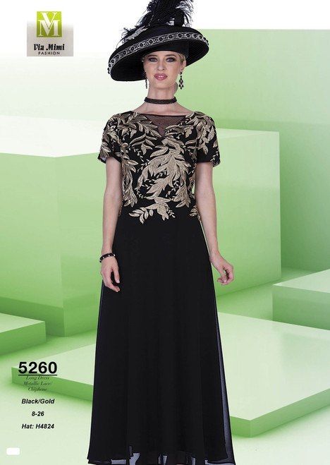 ELITE CHAMPAGNE - 5260 - HAT: H4824 - LONG DRESS METALLIC LACE CHIPHONE - SIZES: 8-26 - COLOR: BLACK/GOLD