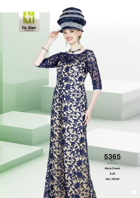 ELITE CHAMPAGNE - 5365 - HAT: H5104  - LONG LACE DRESS  - SIZES: 8-26 - COLOR: NAVY/CREAM