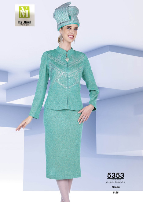 ELITE CHAMPAGNE - 5353 - JACKET/SKIRT EXCLUSIVE KNIT FABRIC - SIZES: 8-26 - COLOR: GREEN