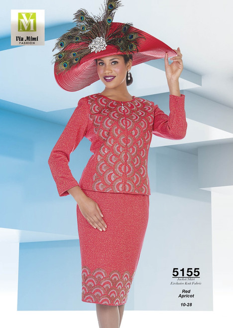 ELITE CHAMPAGNE - 5155 - JACKET/SKIRT EXCLUSIVE KNIT FABRIC - SIZES: 10-28 - COLORS: RED - APRICOT