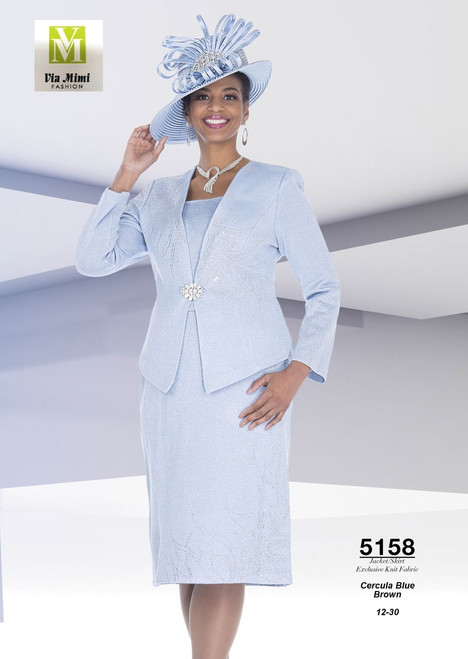 ELITE CHAMPAGNE - 5158 - JACKET/SKIRT EXCLUSIVE KNIT FABRIC - SIZES: 12-30 - COLORS: