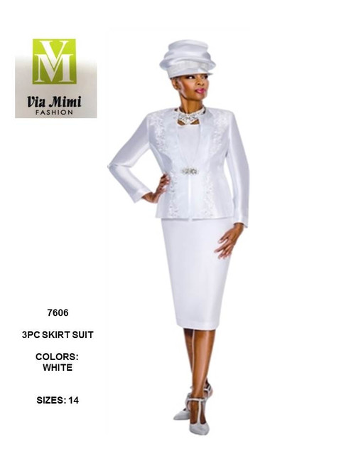 TERRAMINA - 7606 - 3PC SKIRT SUIT - SIZE: 14 - COLOR: WHITE