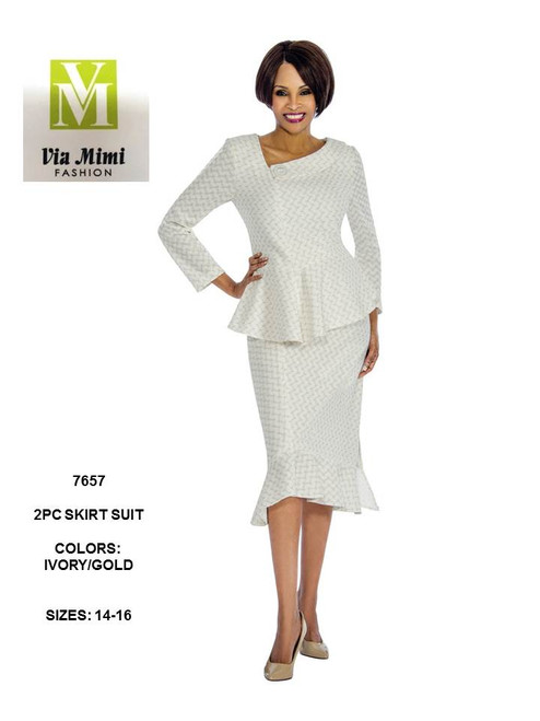 TERRAMINA - 7657 - 2PC SKIRT SUIT - SIZES:14-16 - COLOR: IVORY/GOLD