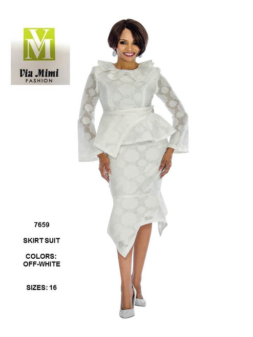 TERRAMINA - 7659 - SKIRT SUIT - SIZE: 16 - COLOR: OFF WHITE