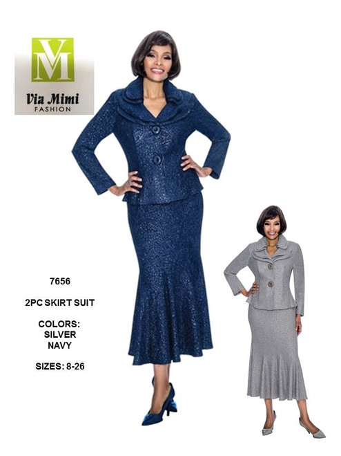 TERRAMINA - 7656 - SKIRT SUIT - SIZES: 8-26 - COLORS: SILVER, NAVY
