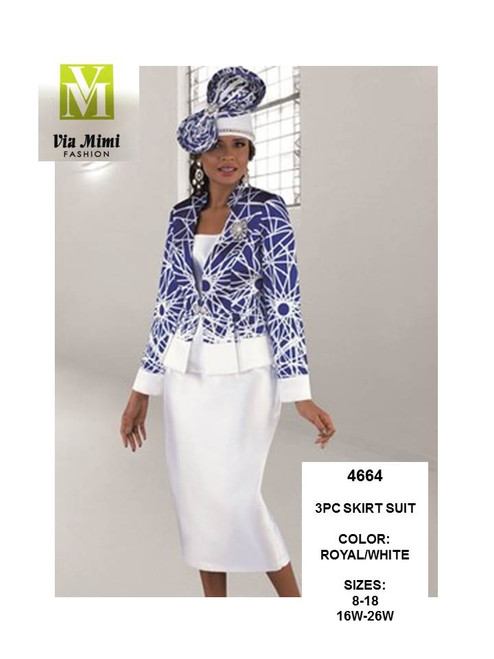 TALLY TAYLOR - 4664 -3PC SKIRT SUIT - SIZES: 8-18/16W-26W - COLOR: ROYAL/WHITE