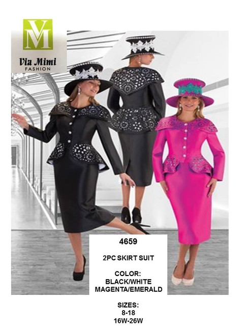 TALLY TAYLOR - 4659 - 2PC SKIRT SUIT - SIZES: 8-18/16W-26W - COLORS: BLACK/WHITE, MAGENTA/EMERALD