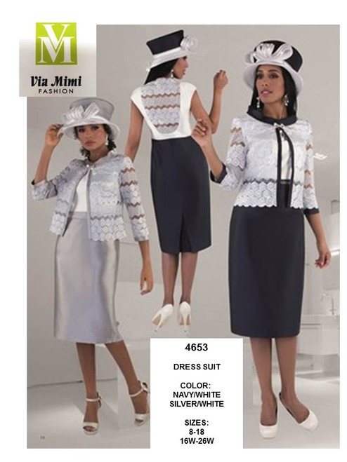 TALLY TAYLOR - 4653 - DRESS SUIT - SIZES: 8-18/16W-26W - COLORS: NAVY/WHITE, SILVER/WHITE