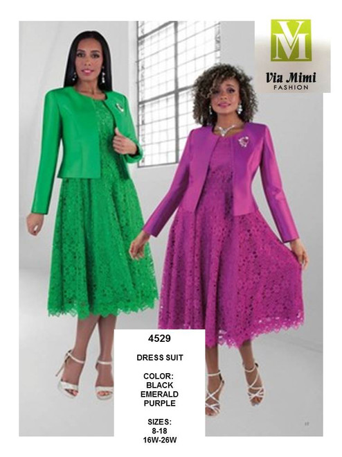 TALLY TAYLOR - 4529 - 2PC DRESS SUIT W/DETACHABLE, RHINESTONE BROOCH, SILK LOOK JACKET - SIZES: 8-18/16W-26W - COLORS: BLACK, EMERALD, PURPLE