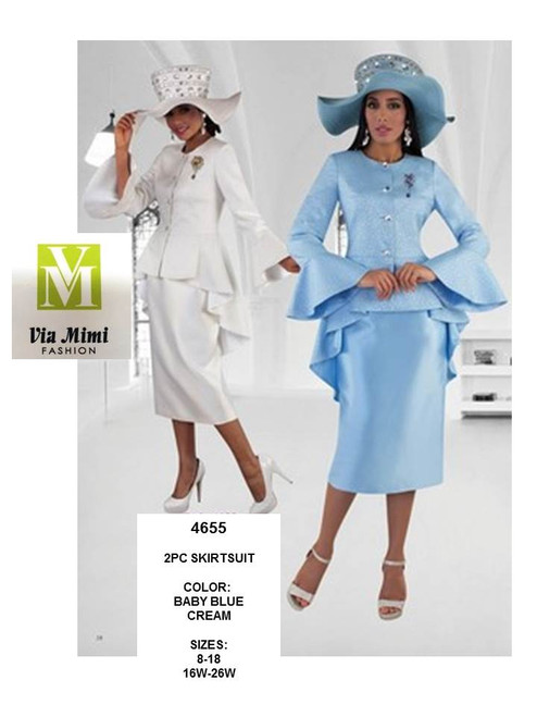 TALLY TAYLOR - 4655 - 2PC SKIRT SUIT - SIZES: 8-18/16W-26W - COLORS: BABY BLUE, CREAM