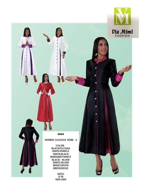 TALLY TAYLOR - 4544 - WOMEN CASSOCK ROBE-2 - SIZES: 8-18/16W-26W - COLORS: BLACK/FUCHSIA, WHITE/PURPLE, WHITE/BLACK, BURGUNDY/WHITE, BLACK/SILVER, WHITE/SILVER, BEIGE/GREEN, GREEN/BEIGE