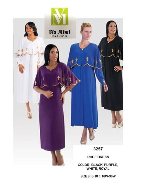 TALLY TAYLOR - 3257 - ROBE DRESS - SIZES:6-18/16W-30W - COLORS: BLACK, PURPLE, WHITE, ROYAL