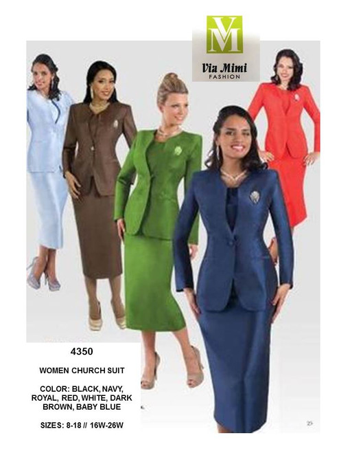 TALLY TAYLOR - 4350 - WOMEN CHURCH SUIT - SIZES: 6-18/16W-26W - COLORS: BLACK, NAVY, ROYAL, RED, WHITE, DARK BROWN, BABY BLUE