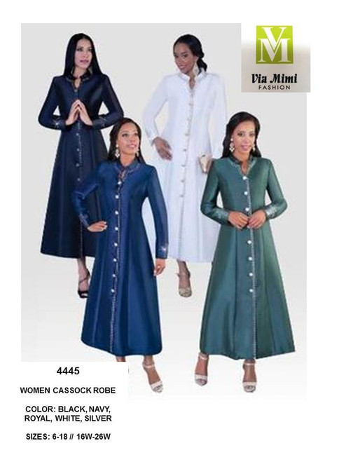 TALLY TAYLOR - 4445 - WOMEN CASSOCK ROBE - SIZES: 8-18/16W-26W - COLORS: BLACK, PURPLE/GOLD, WHITE, BURGUNDY, DARK SILVER, HUNTER GREEN, NAVY, ROYAL