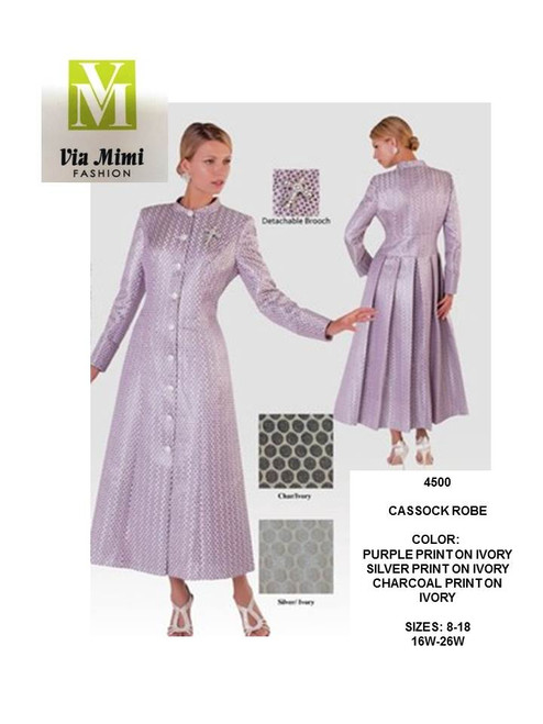 TALLY TAYLOR - 4500 - CASSOCK ROBE - SIZES: 8-18/16W-26W - COLORS: PURPLE PRINT ON IVORY, SILVER PRINT ON IVORY - CHARCOAL PRINT ON IVORY