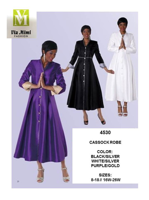 TALLY TAYLOR - 4530 - CASSOCK ROBE - SIZES: 8-18/16W-26W - COLORS: BLACK/SILVER, WHITE/SILVER, PURPLE/GOLD