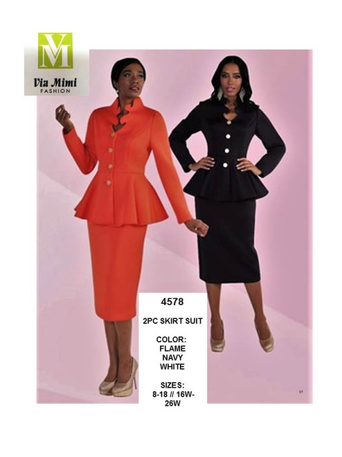 TALLY TAYLOR - 4578 - WOMEN 2PC SKIRT SUIT - SIZES: 8-18/16W-26W - COLORS: FLAME, NAVY, WHITE