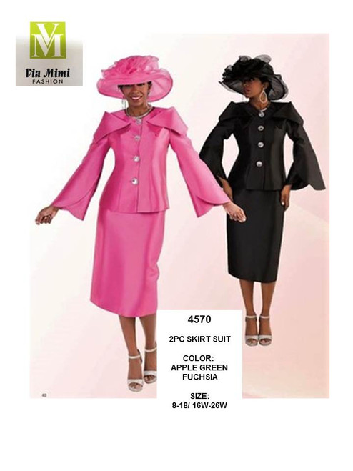 TALLY TAYLOR - 4570 - 2PC SKIRT SUIT - SIZES:8-18/16W-26W - COLORS: APPLE GREEN, FUCHSIA