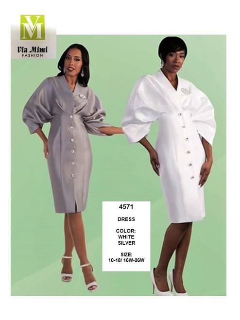 TALLY TAYLOR - 4571 - DRESS - SIZES:10-18/16W-26W - COLORS: WHITE, SILVER