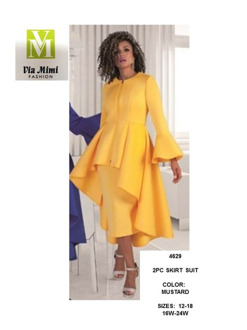 TALLY TAYLOR - 4629 - 2PC SKIRT SUIT - SIZES:12-18/16W-24W - COLOR: MUSTARD