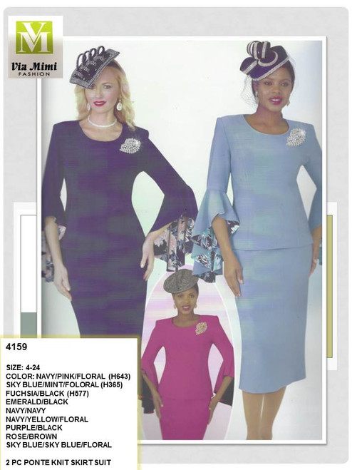 2 PC PONTE KNIT SKIRT SUIT  AVAILABLE COLORS & SIZES:  FUCHSIA 12 & 20, NAVY 10,14 & 18, ROYAL 16 & 22
