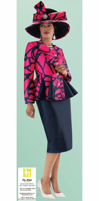 TALLY TAYLOR 4686 FALL 2019  2 PC. SKIRT SUIT IN BROCADE FABRIC WITH ELEGANT PEPLUM JACKET COLORS: NAVY/FUCHSIA, BLACK/WHITE SIZE: 8-18, 16W-26W