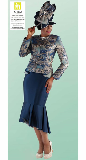 TALLY TAYLOR 4698 FALL 2019 2 PC. SKIRT SUIT COLORS: BLACK/PRINT,NAVY/PRINT SIZE: 8-18, 16W-26W