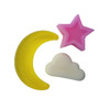 clear yellow moon with pastel pink star
