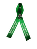 green  personalized memorial service funeral ribbon pins