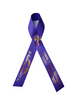 purple personalized memorial service funeral ribbon pins