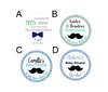Personalized Bowtie and Mustache Baby Shower Favors