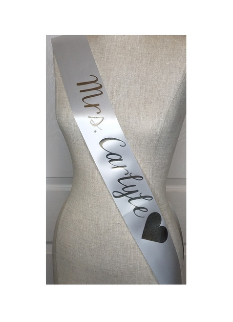white sash with gold lettering future mrs sash for bachelorette party or bridal shower