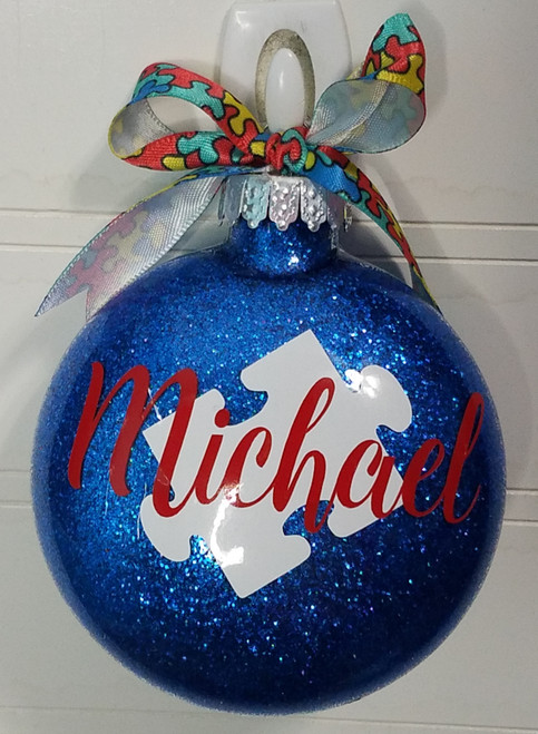 Personalized Autism Glitter Christmas Ornament