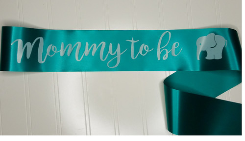 teal with white lettering, mommy to be baby shower sash with elephant