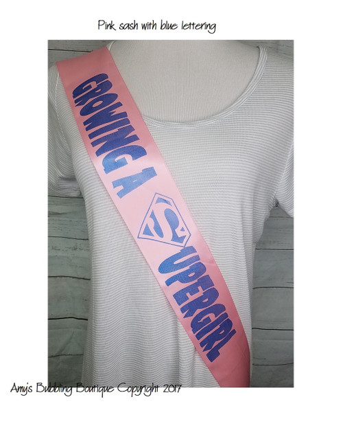 Growing a Superhero Baby Shower Sash for mommy to be