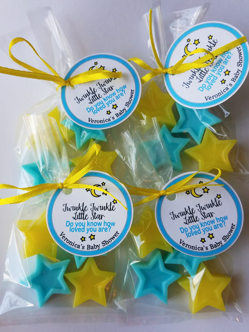 pastel blue and pastel yellow twinkle little star baby shower favors