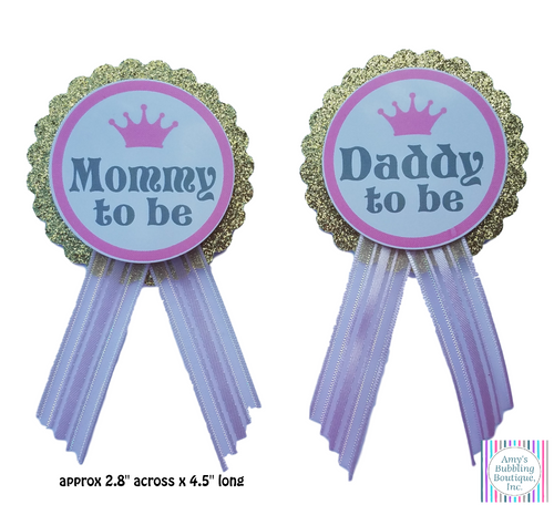 gold glitter background with pink ribbon, mommy and daddy to be baby shower pins