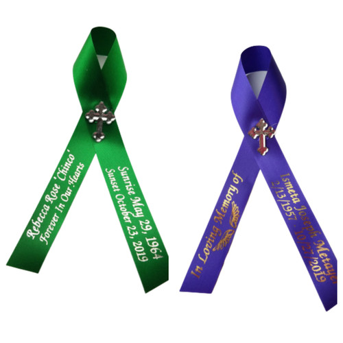 green and purple personalized memorial service funeral ribbon pins