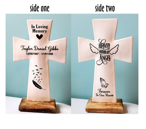 two sided personalized memorial cross