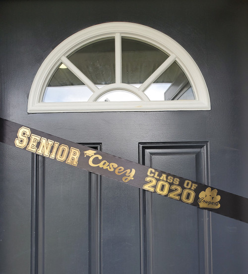 black with gold senior graduation door banner sash