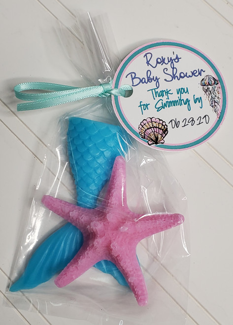 mermaid and starfish favors for baby shower, bridal shower, under the sea theme