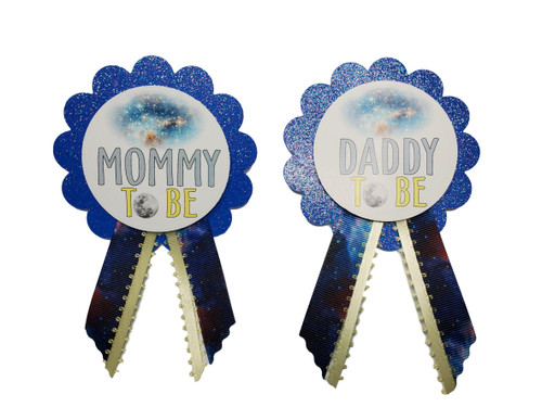 blue mommy and daddy to be galaxy baby shower pins