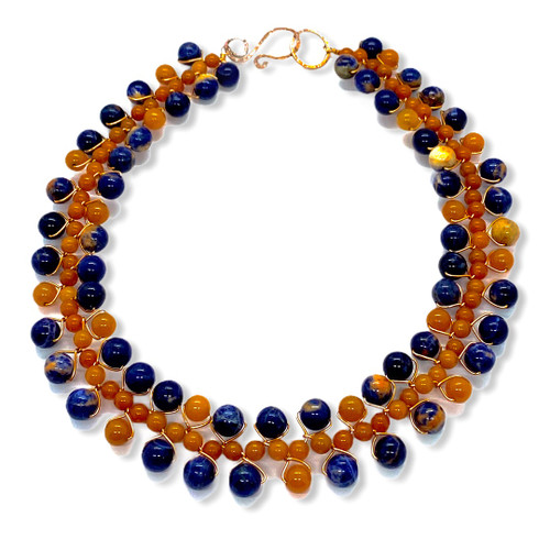 Sodalite, red aventurine and copper signature collar necklace