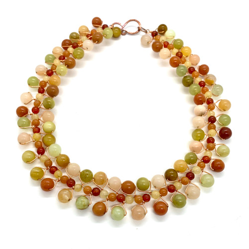 gemstone collar necklace with yellow jasper, aventurine, jade, carnelian and copper